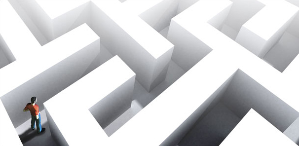 Picture of someone wandering in a maze
