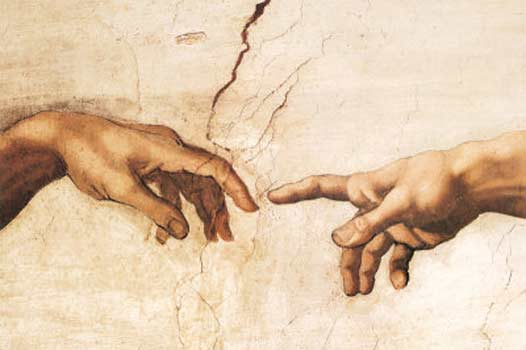 Two outstretched hands meet
