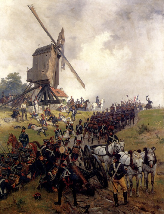 French infantry advancing at Waterloo