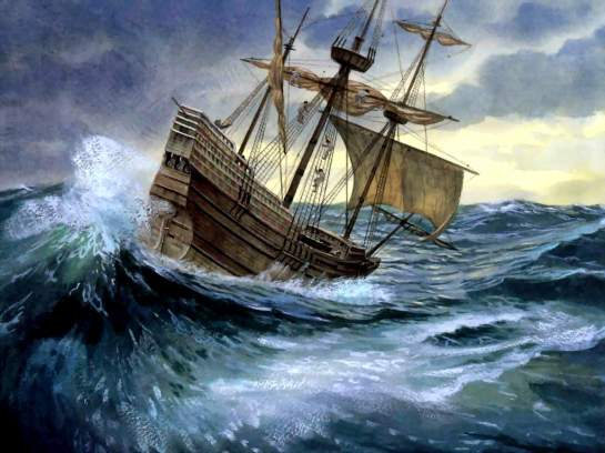 A ship all at sea on a stormy ocean